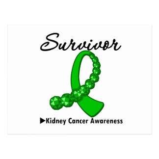 Kidney Cancer Survivor Green Gemstone Ribbon Postcard
