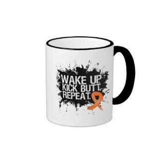 Kidney Cancer Wake Up Kick Butt Repeat Ringer Mug