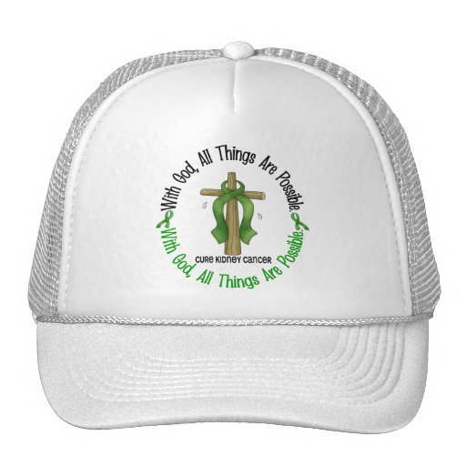 Kidney Cancer WITH GOD CROSS 1 Mesh Hat