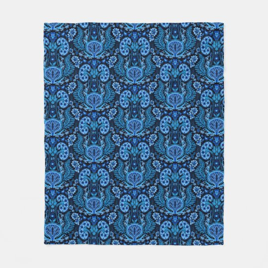 Kidney Damask in Navy Blue Fleece Blanket