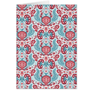 Kidney Damask in Red/Teal Greeting Card