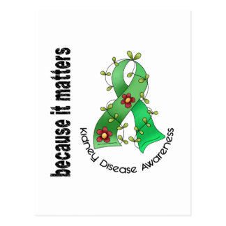 Kidney Disease Flower Ribbon 3 Postcard