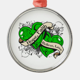 Kidney Disease Hope Faith Dual Hearts Silver-Colored Round Decoration