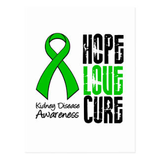 Kidney Disease Hope Love Cure Ribbon Postcard