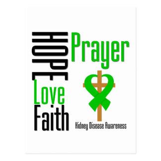 Kidney Disease Hope Love Faith Prayer Cross Postcard
