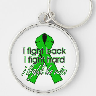 Kidney Disease I Fight Back Silver-Colored Round Key Ring
