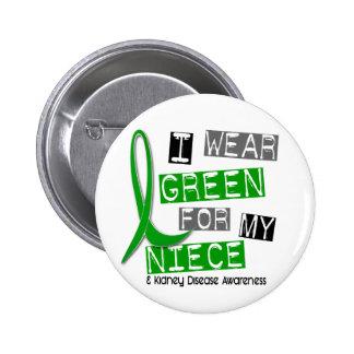 Kidney Disease I Wear Green For My Niece 37 6 Cm Round Badge