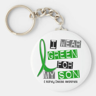 Kidney Disease I Wear Green For My Son 37 Basic Round Button Key Ring