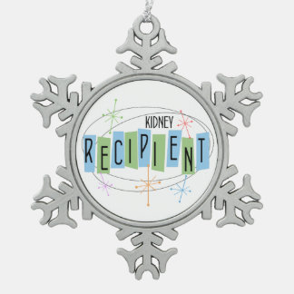 Kidney Recipient Retro Style Snowflake Pewter Christmas Ornament