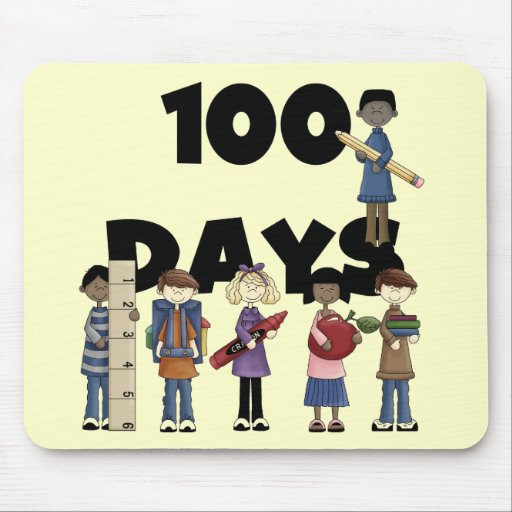 Kids 100 Days of School T-shirts and Gifts Mouse Mats