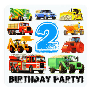 Kid's 2nd Birthday Construction Truck Party Card