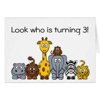 Kids 3rd Birthday Party Invitation Jungle Animals Greeting Card