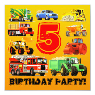 Kid's 5th Birthday Construction Truck Party 13 Cm X 13 Cm Square Invitation Card