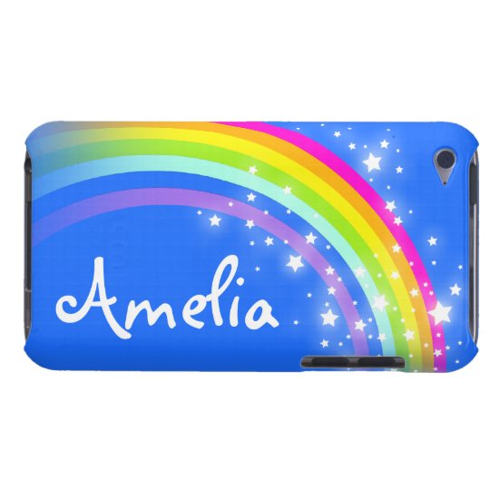 Kids 6 letter name rainbow blue ipod case