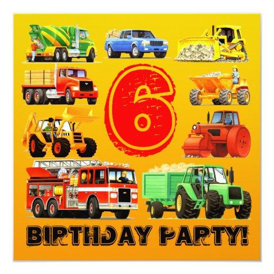 Kid's 6th Birthday Custom Construction Truck Party Card