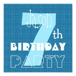 Kids 7th Birthday Seven Year Old Blue White 007 Invitation