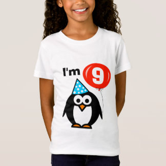 Kids 9th Birthday shirt | penguin with red balloon