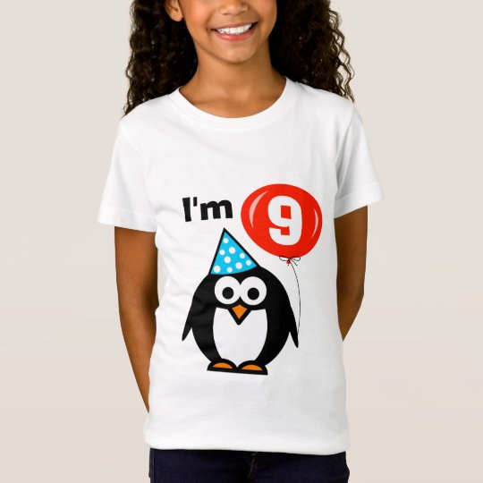 Kids 9th Birthday shirt   penguin with red