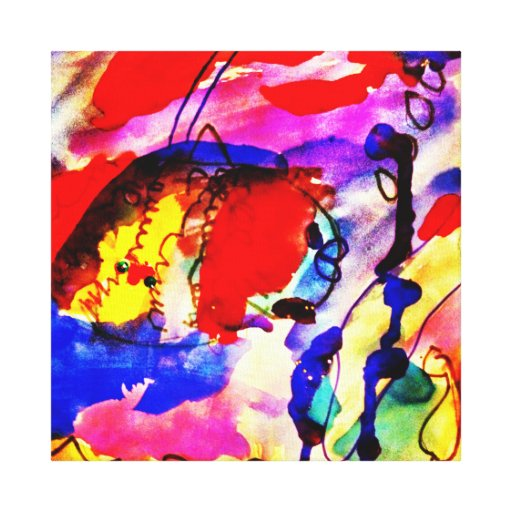 Kids Abstract Art Rainbow Fish in Colorful Sea Canvas Print