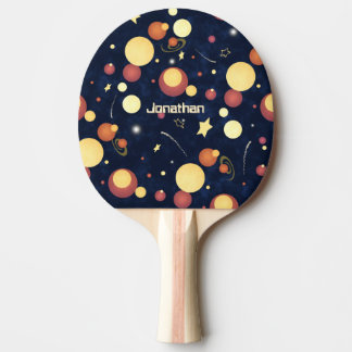 kids' abstract planets and stars night sky ping pong paddle