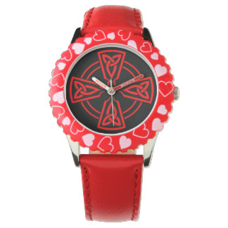 Kid's Adjustable Bezel Stainless Steel Red Hearts Wristwatches