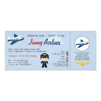 Kids Airline Ticket Birthday Party Invitation  Airline Ticket Invitation