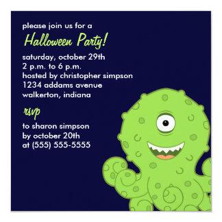 Kids Alien Octo Halloween Party Invitations