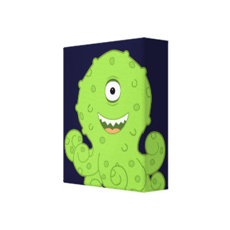 Kids Alien Octo Wrapped Canvas Art for Room Stretched Canvas Print