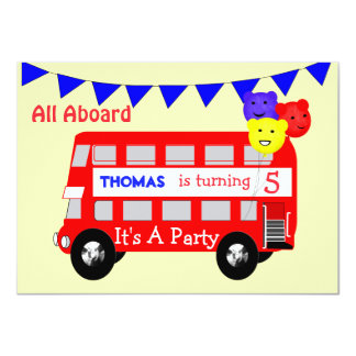 Kids All Aboard Big Red Bus Party 11 Cm X 16 Cm Invitation Card