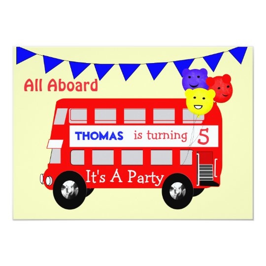 Kids All Aboard Big Red Bus Party Card