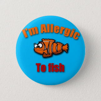 Kids allergy alert fish 6 cm round badge