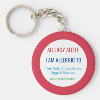 Kids Allergy Alert Personalized Allergic To Basic Round Button Key Ring
