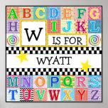 Kids Alphabet Art 11x11 Personalised Poster