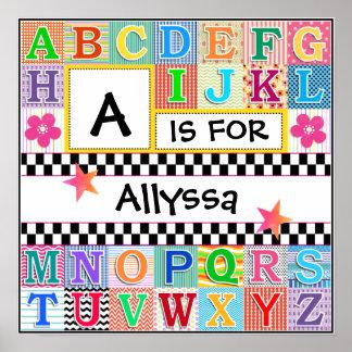 Kids Alphabet Art 16x16 Personalized Poster