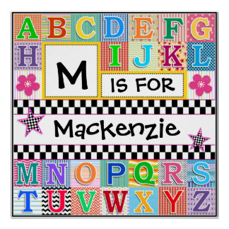 Kids Alphabet Art 24x24 Personalized Print