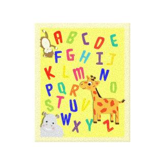 Kids Alphabet Picture Cute Giraffe Hippo Monkey Canvas Prints