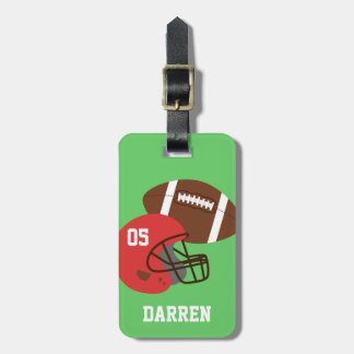 Kids American Football and Red Helmet Bag Tag