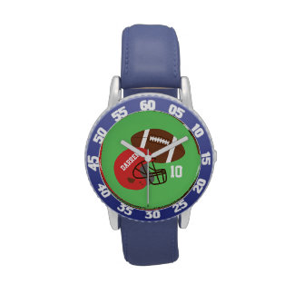 Kids American Football and Red Helmet Wristwatch