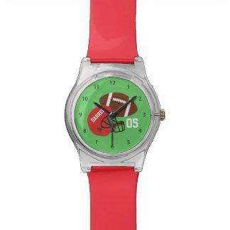 Kids American Football and Red Helmet Wristwatch