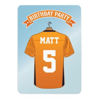 Kids American Football Jersey Orange Blue Birthday Card