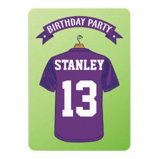 Kids American Football Jersey Purple Birthday 13 Cm X 18 Cm Invitation Card