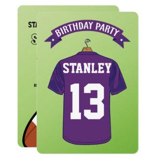 Kids American Football Jersey Purple Birthday Card