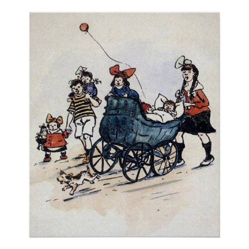 Kids And Carriage Early 1900's Print