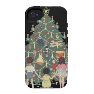 Kids and Christmas Tree - Vintage illustration iPhone 4 Cover