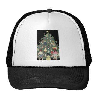 Kids and Christmas Tree - Vintage illustration Mesh Hats