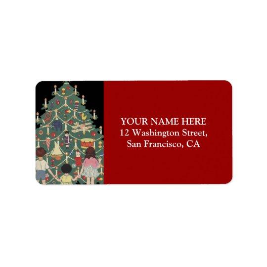 Kids and Christmas Tree - Vintage illustration Label