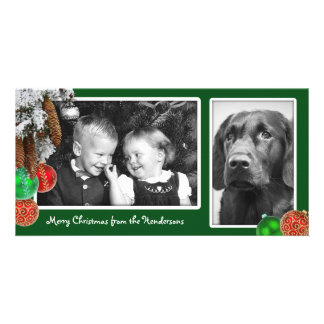 Kids and Dog Two Photo Christmas Card Picture Card