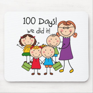 Kids and Female Teacher 100 Days Mouse Pad