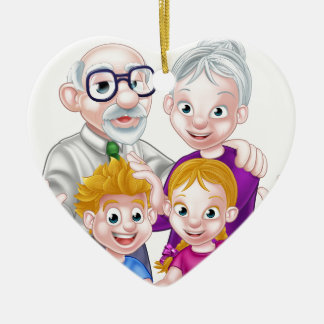 Kids and Grandparents Ceramic Heart Decoration