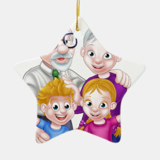 Kids and Grandparents Ceramic Star Decoration